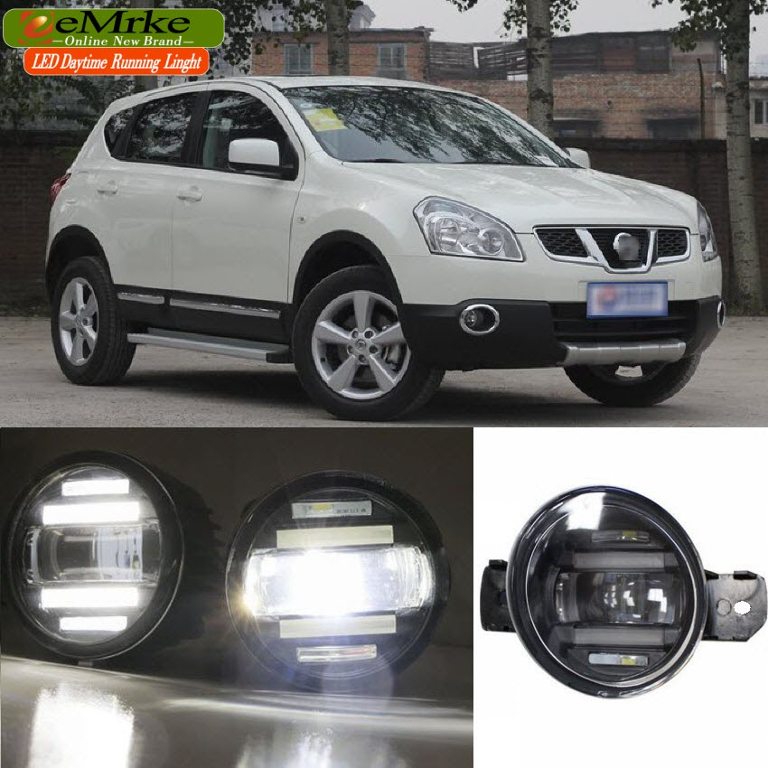 eeMrke Xenon White High Power 2in1 LED DRL Projector Fog Lamp With Lens For Nissan Qashqai J10 NJ10 (+2) J11 2006-2016 eemrke xenon white high power 2 in 1 led drl projector fog lamp with lens daytime running lights for renault kangoo 2 2008 2015