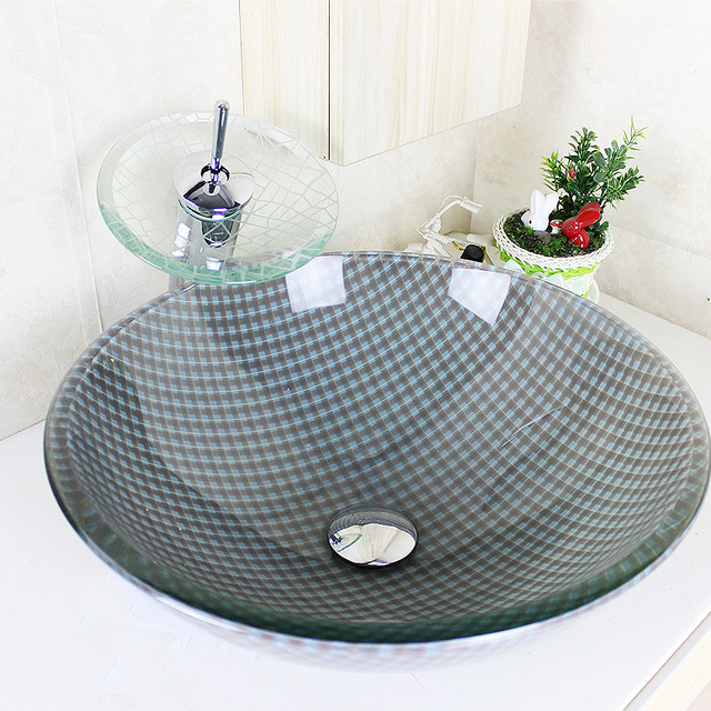 Modern Round Grey And White Grids Tempered Glass Sink And Faucet Sets With  Waterfall Faucet Water