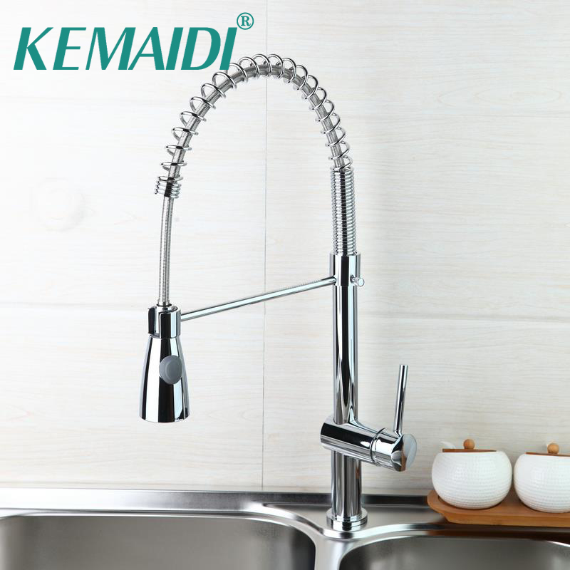 KEMAIDI High Quality Chrome Polished Water Faucet Solid Brass Kitchen Faucet Swivel & Pull Down Spout Vessel Sink Mixer Tap classic jade body swivel pull out kitchen faucet water saving polished chrome basin mixer brass tap vessel vanity sink