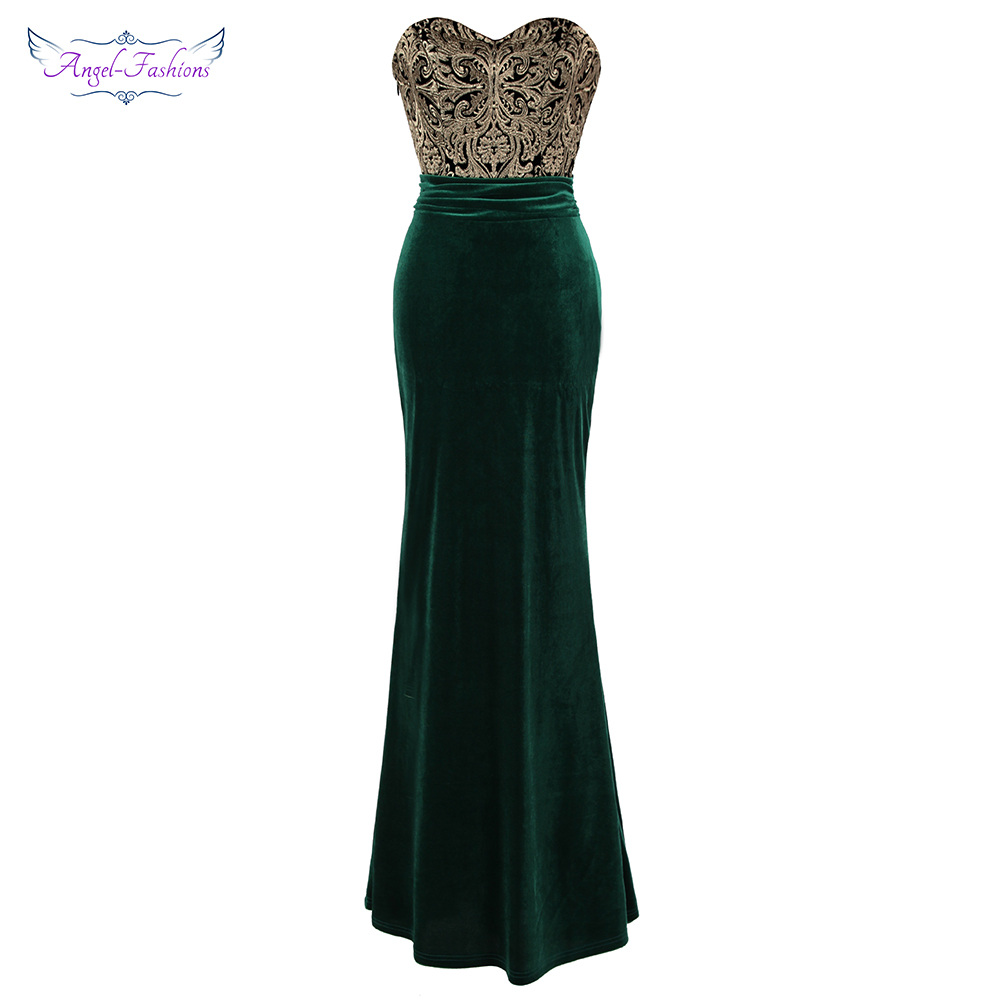 Angel-fashions Women's   Evening     Dress   Strapless Gold Embroidery Ruched Velvet Long Mermaid Party Gown Green 431