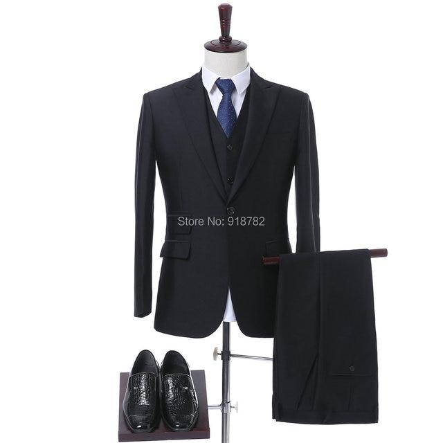 Negro hombres formales Trajes esmoquin 2018 elegante por encargo 3 unidades  traje novio Trajes para la d986b1c8847