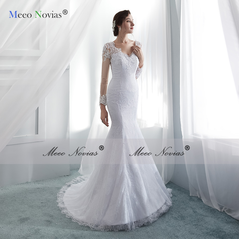 Meeo Novias Long Sleeve Lace Mermaid Wedding Dresses 2019 Simple Illusion Back Pearls Beads Bridal Wedding Gown Sexy Bride Dress