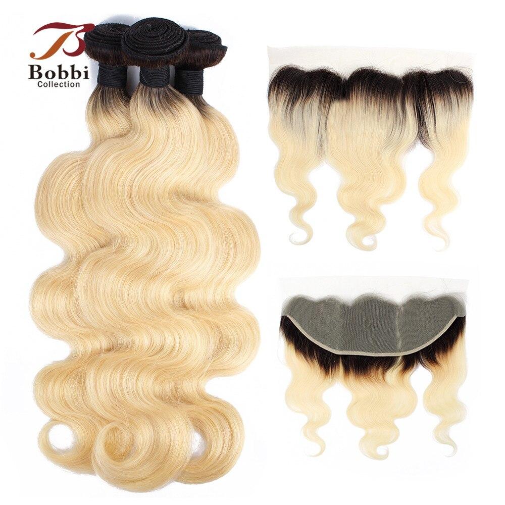 BOBBI COLLECTION Dark Root Platinum Blonde 1B 613 Bundles With Frontal Brazilian Body Wave Remy Human