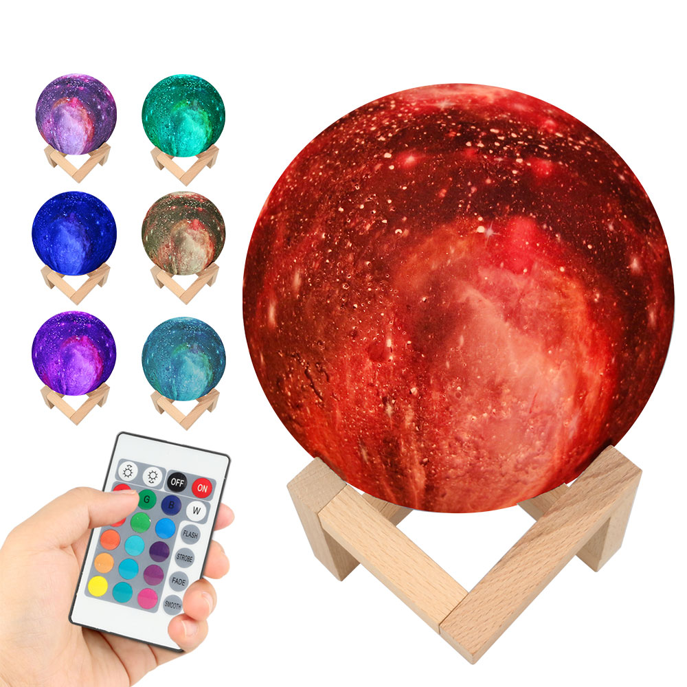 LED Night Light 15CM 3D Print Starry Sky Magic Star Moon Planet Rechargeable Lamp Colorful 3/7 Colors Change Touch Switch round neck long sleeve 3d fierce bear starry sky print sweatshirt