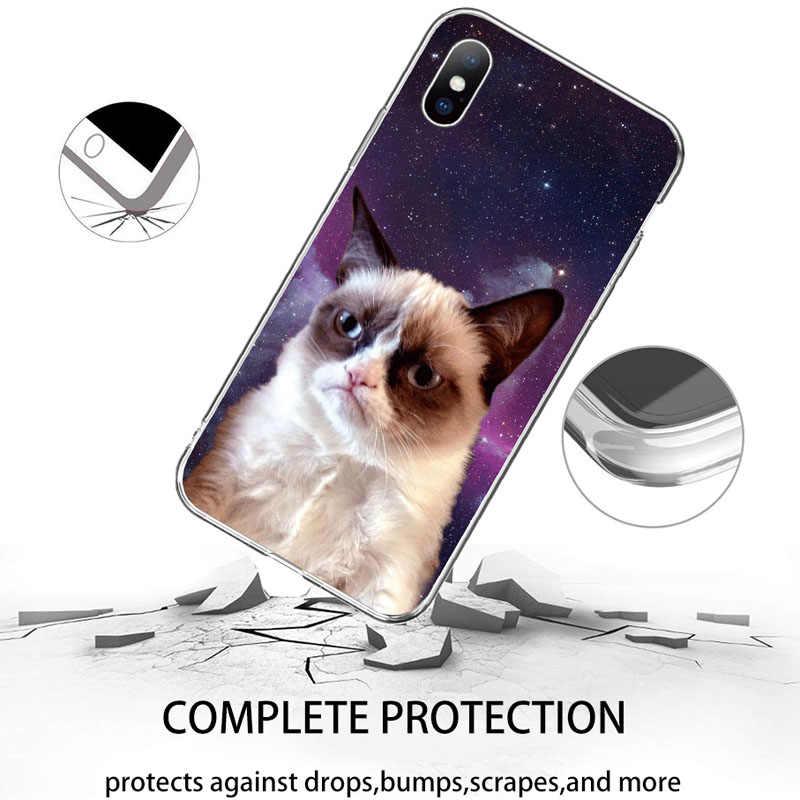 Caixa Do Telefone Para o iphone 6 6 USLION s Plus XR Xs Max Transparente Dos Desenhos Animados Engraçados Do Gato Macio TPU Tampa Transparente para o iphone X XS 5 5S SE Plus