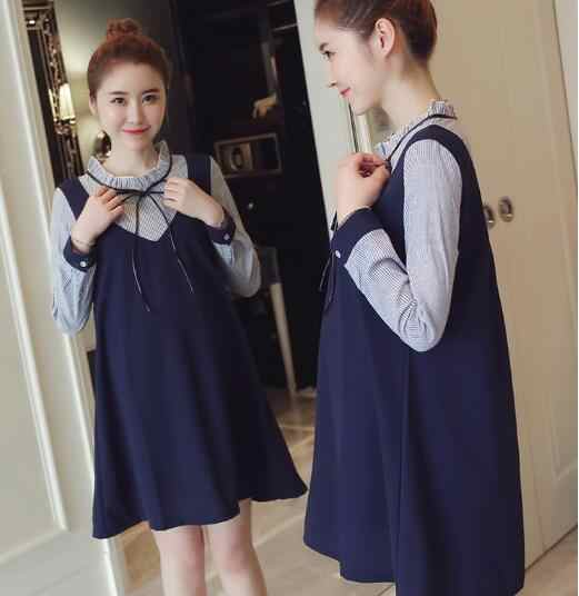 84134d02a4 New winter sweet women's pregnant skirt cotton bow lovely dress long sleeve  soft plus size Maternity casual patchwork
