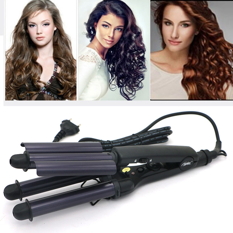 Rizador De Pelo Pro Tourmaline Ceramic 3 Barrels 3 Pipe Joint Big Hair Wave Waver Ceramic Curling Irons Hairstyle Tools HT020A