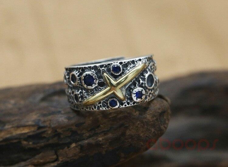Dernière Vintage 925 en argent Sterling étoile ouverte anneau avec croix en or pour hommes garçons réglable livraison gratuite - 5