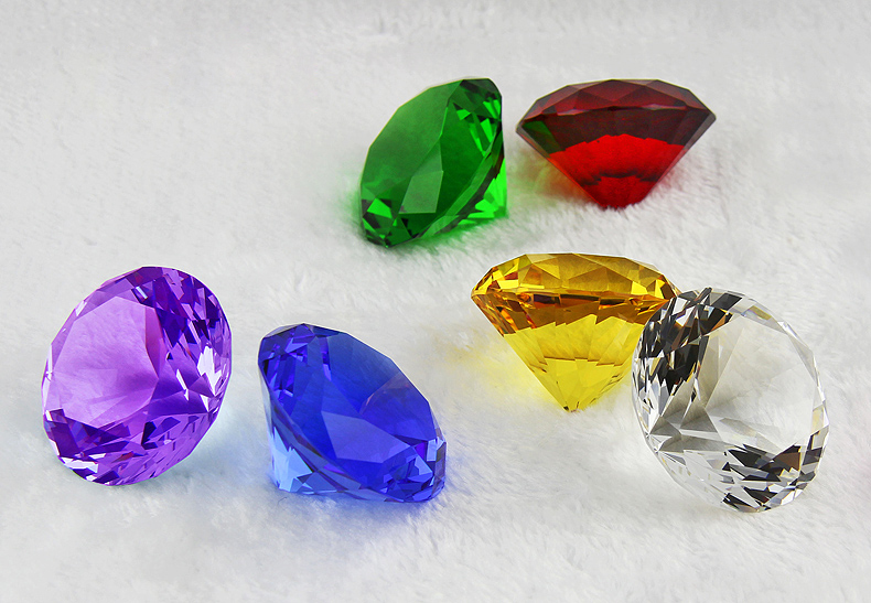 Garland Chakra Spectra 1 Pc Cut Crystal Diamond Paperweight Wedding Party Vence Decor Rainbows 40mm 7 color Diamonds souvenirs