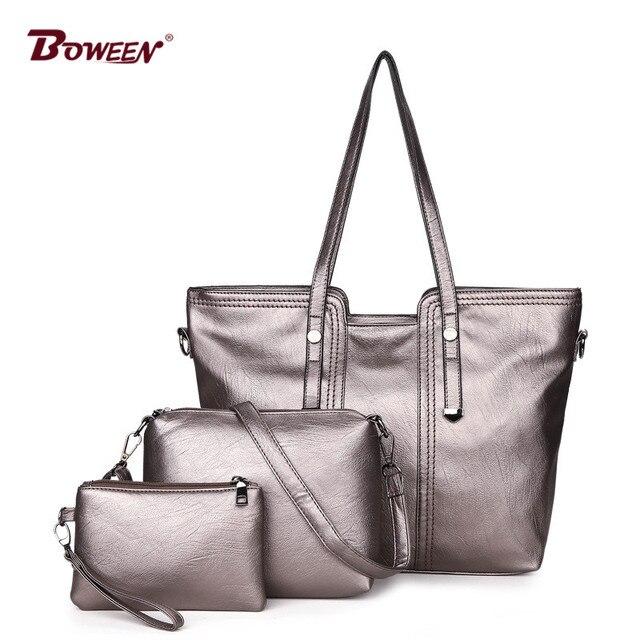 solid 3 pcs/set PU leather shoulder strap bag women 2018 New high quality crossbody bags Ladies fashion small clutch bag
