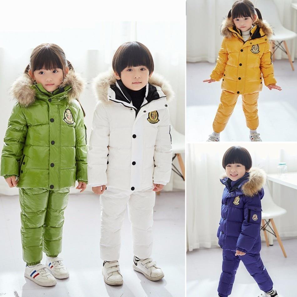 купить -30 Degree Russian Winter Ski Jumpsuit Children Clothing Boys Girls Sport Suit Kids Snow Wear Jackets Coats Bib Pants Waterproof недорого