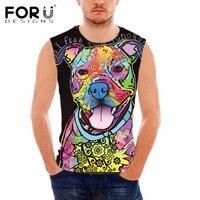 FORUDESIGNS Gym Clothing Man 3D Colorful Dog Pattern Tank Top Fitness Men Bodybuilding Vest Summer Sleeveless