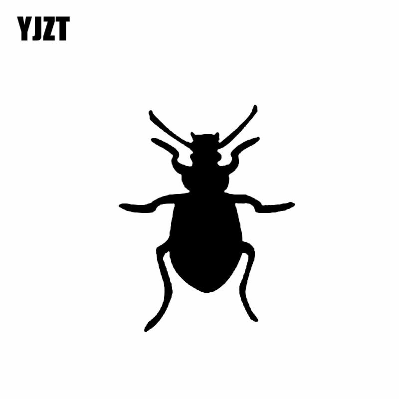 YJZT 9.8CM*12.6CM Beautiful Dazzling Magical Insect Shadow Lovely Bug Vinyl Decal Car Sticker Black/Silver C19-1314