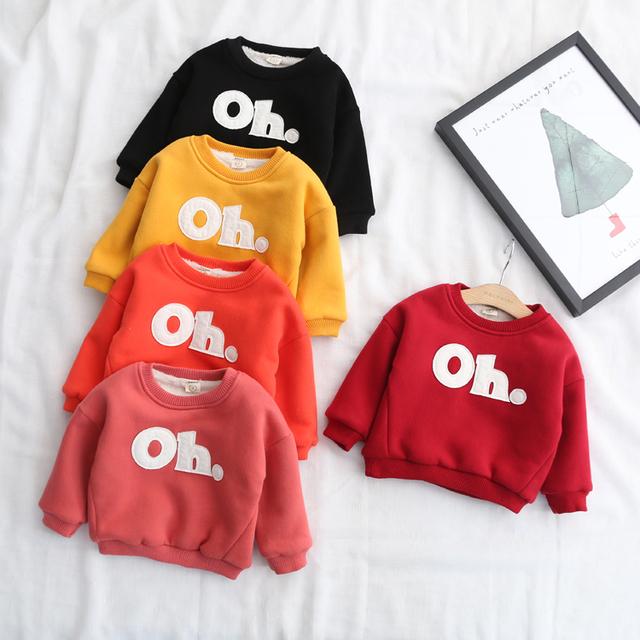 2017 carta rotulagem clothing criança do sexo feminino de inverno das crianças além de veludo espessamento suéter camisa básica térmica