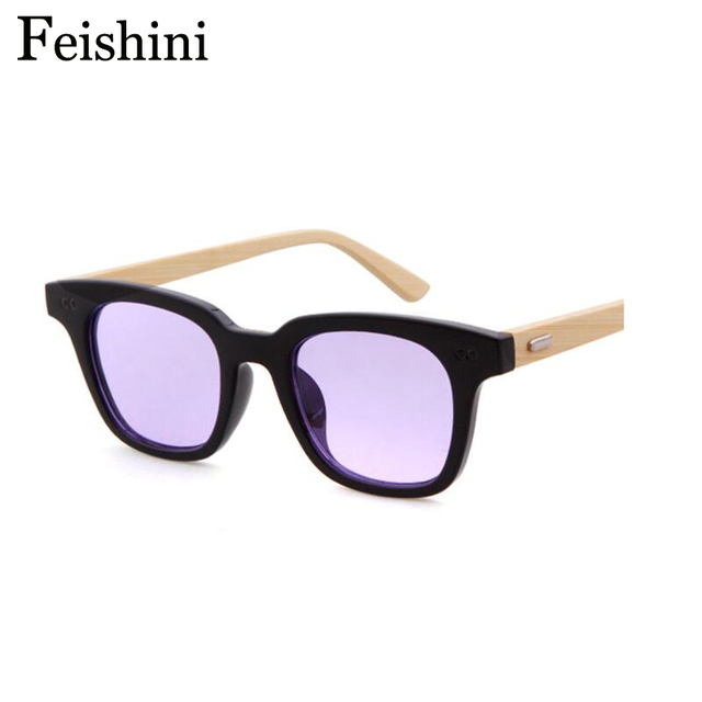 63a5420bcb FEISHINI Christmas Small Face Wear bamboo Women Sunglasses Men Wood Prevent  Visual Fatigue Security Protect Eyesight