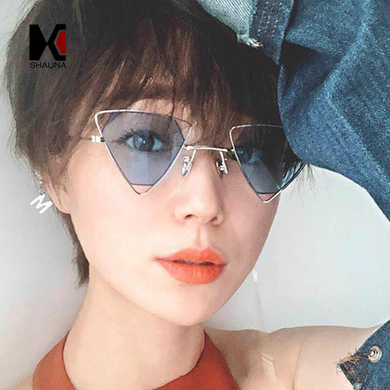 21bf79aaa60 SHAUNA Retro Metal Triangle Sunglasses Women Fashion Candy Colors Clear Red  Yellow Pink Sun Glasses Men