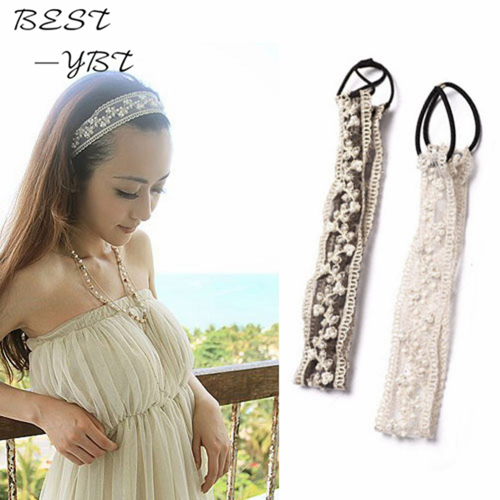 Hot New Sweet Korean Pearl Beads Lace Hair Head Bands Wide Elastic Headband Hair Band Bridal Hair Accessories Girls Bandeau