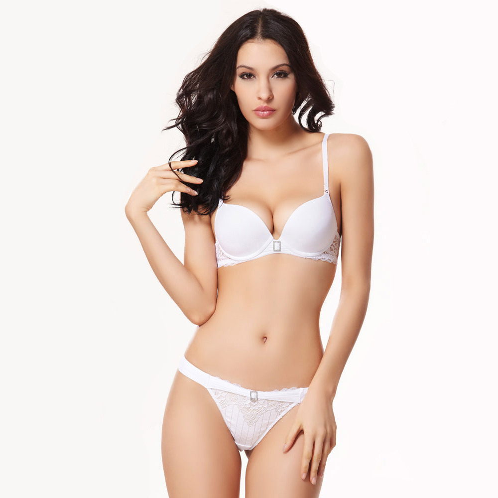 Diamond Lace Bra Set balaloum Sexy Bra and Panty Sets Push Up Women Underwear Sets White Lingerie Ladies Transparent Bra Thong