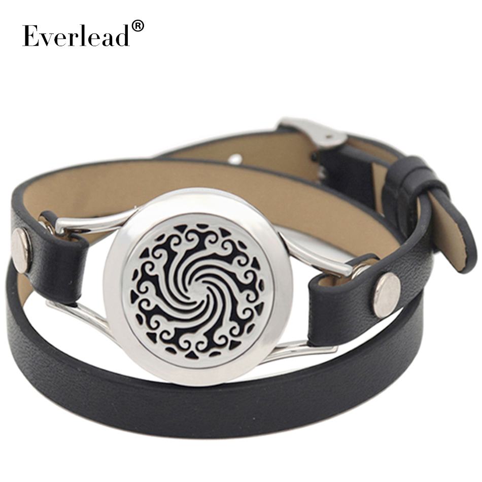 real leather aromatherapy bracelet locket stainless steel Essential oil diffuser locket bracelet with free pad and