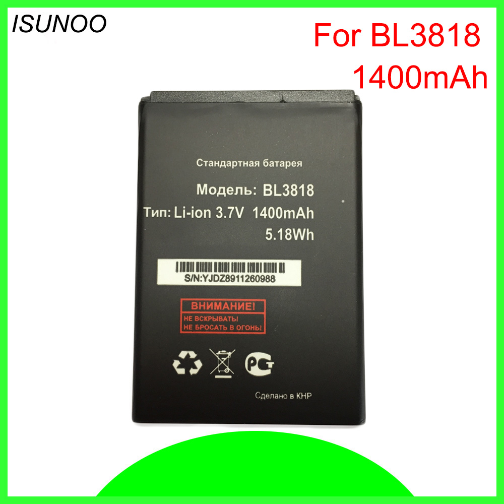 ISUNOO <font><b>1400mah</b></font> BL3818 Battery For FLY IQ4418 ERA Style 4 Accumulator for <font><b>Micromax</b></font> S308 Battery Replacement image