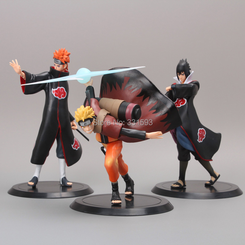 Japanese Anime Uzumaki Naruto + Pain + Uchiha Sasuke PVC Action Figures Cartoon Models Toys 3pcs/set Free Shipping 16cm 1 10 pvc japanese anime naruto action figure obito uchiha sasuke kakashi madara gaara orochimaru akatsuki nagato gs185