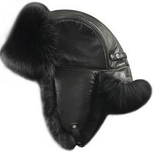 ZDFURS men fox fur raccoon fur sheep skin hat Men s Fur Trapper Cap Genuine Sheepskin