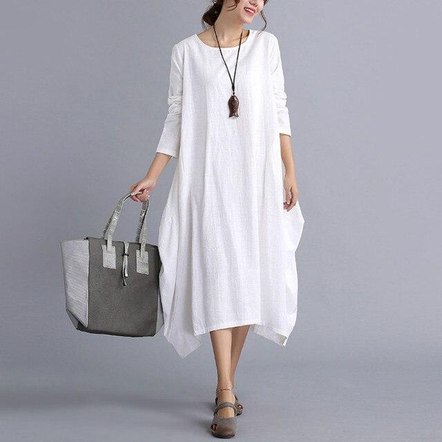 0c90fe5228b67 New Summer Maxi Dress Pregnant Women Loose Cotton Linen Maternity Dress  Long Sleeve Vintage 2017 Autumn