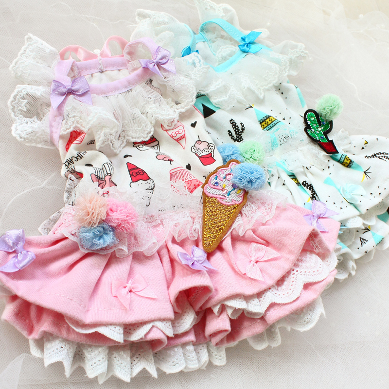 Free shipping high quality workmanship cartoon icecream 100%cotton lace cake dog dresses pet clothes