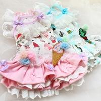 Free shipping high quality workmanship cartoon icecream 100%cotton lace cake dog dresses pet clothes