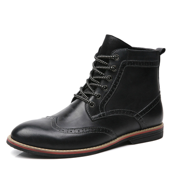 England style designer men large size bullock boots cowboy desert ankle boot cow leather shoes carved brogue botas hombre sapato