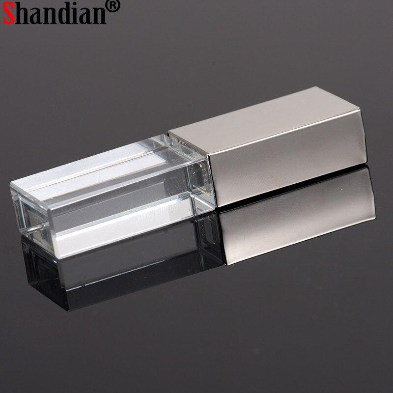 "Shandian ""crystal Usb Sticks 3d Print Custom Logo 10pcs/lot 4gb 8gb 16ggb 32gb 64gb Usb Flash Pendrive Transparent Glass"" To Produce An Effect Toward Clear Vision"