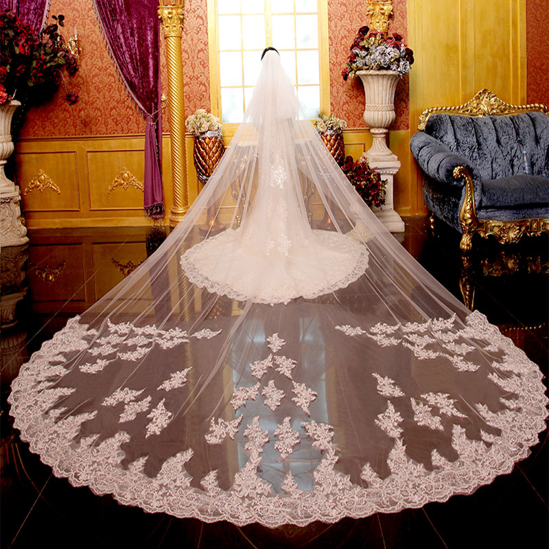 3 Meters Long Wedding Veils Cathedral Appliques On Train 2 Layers Luxury Bridal Vail with Cover Face Comb Wedding Accessories