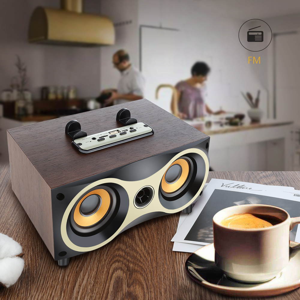 Retro Wooden Wireless Speaker Dual Bass stereo Altavoz Support U-disk FM radio Bluetooth Speakers for iPhone Android 5