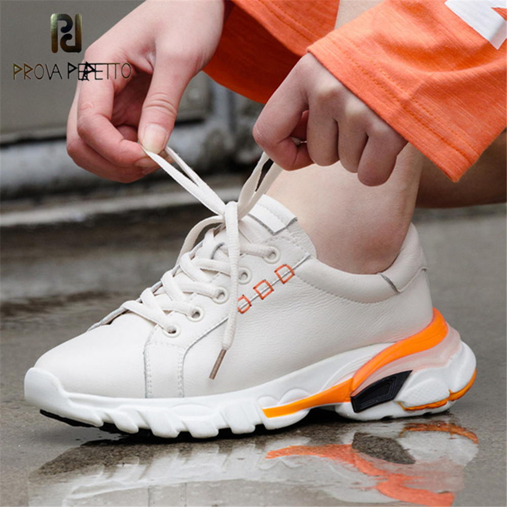 Prova Perfetto Leather Sneakers Women Breathable Platform Shoe Laces Thick Sole Fashion sapato feminino Black White Shoes Woman