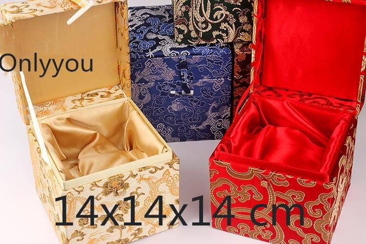 Boîte de rangement en tissu Cube carré en bois chinois de luxe boîte de rangement en soie bijoux en brocart artisanat en pierre boîte d'emballage cadeau Collection - 3