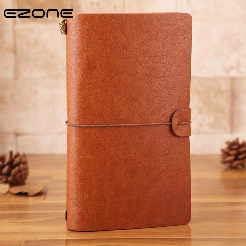 EZONE Leather Cover Notebook Diary Journal Vintage Travel Note Book Pocket Planner Xmas Gift Replaceable School Planner Agenda