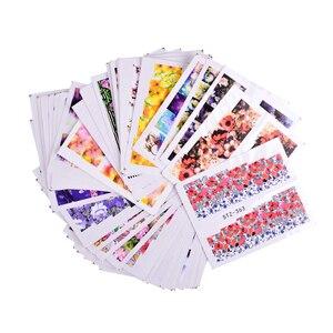 Image 4 - 48 個 Flwoer のデザイン爪ステッカー混合カラフルな花フル箔ポーランド DIY 透かしツールネイルアートステッカー TRSTZ352 391