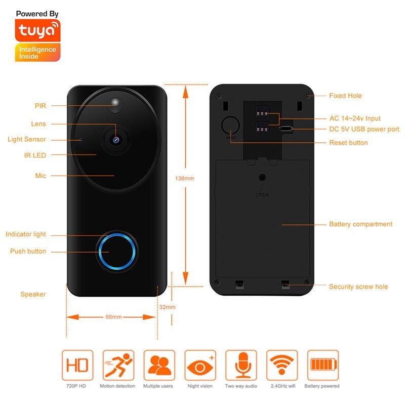 Keeper 2019 Новый беспроводной IP WiFi дверной звонок прямоугольник туя двухсторонний 720 P охранная видеокамера телефон закрытый дом 3