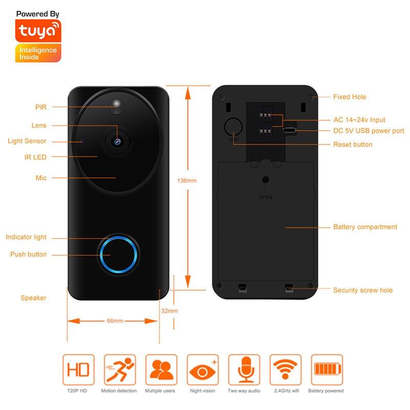 Keeper 2019 new Wireless IP WiFi Doorbell rectangle Tuya Two-way 720P security Video Camera Phone indoor home 3
