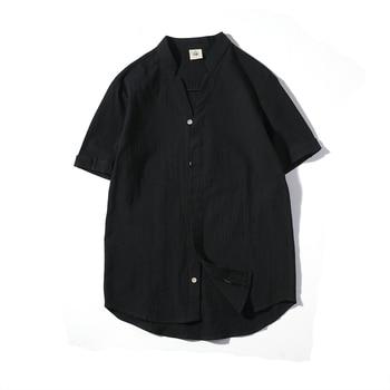 d8614510886 2019 Новая Мужская льняная рубашка с коротким рукавом высокого качества хлопковая  льняная рубашка белое летнее платье