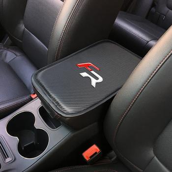 Auto konsola podłokietnik centralny miękka mata podkładka poduszka do siedzenia FR + Leon Ibiza cupra Altea fotelik samochodowy wyściółka ochronna miękkie maty tanie i dobre opinie LIN GUO Posiadacze samochodów disc podatku Carbon fiber 30cm 1 5cm Scion Smart 21cm FSD-08