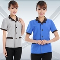 Hot Sale Summer Women Work Wear Short Sleeved Cleaners Uniforms Hotel Restaurant Waiter Clothing Housekeeper Overalls