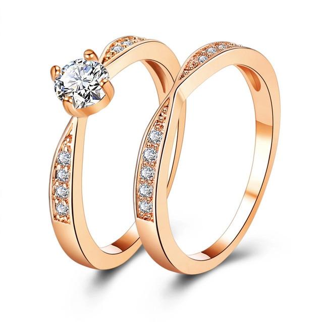 17KM Rose Gold Wedding Rings Jewelry Cubic Zirconia Ring for Women Rings Set Fem