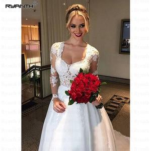 Image 3 - Vestido De Noiva 2 in 1 Long Sleeves Wedding Dresses Illusion Back Lace Appliques Bridal Dress Ball Gown Bride RW03