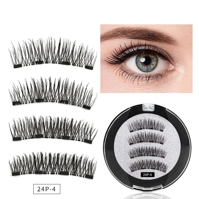 2019 <font><b>4</b></font> <font><b>Magnetic</b></font> <font><b>Eyelashes</b></font> Extension Natural False <font><b>Eyelash</b></font> <font><b>4</b></font> <font><b>magnets</b></font> Reusable 3D <font><b>Magnetic</b></font> Handmade Fake Eye Lashes Makeup Tools image
