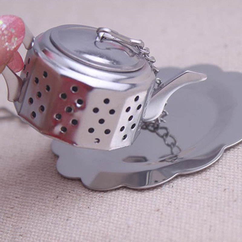 Cute Stainless Steel Teapot Tea Infuser Spice Drink Strainer Herbal Filter+Tray