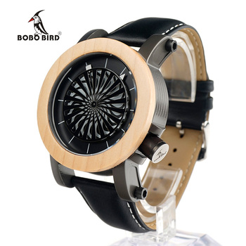 BOBO BIRD M07 Antique Kinetic Art Mechanical Watch Luxury Brand For Men With Skeleton hollow-out design Waterproof With Wood Box circle