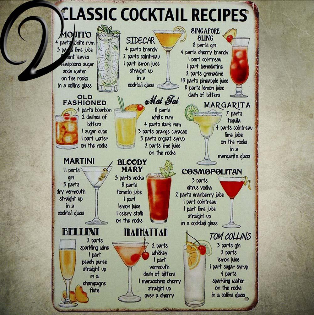 Klassische Cocktail Rezepte Shabby Chic Blechschilder 20*30 cm Retro ...