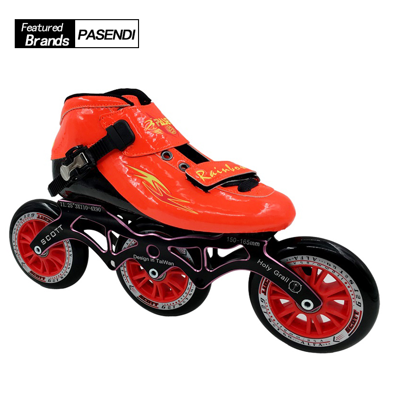 Professional Speed Skate Shoes Women/Men Roller Skates Inline Skating Boots Adults/Kids Shoes 3x110 And 4X90 Frame unsex multi colors professional skates shoes fancy single row roller adult inline universal skating rink skates