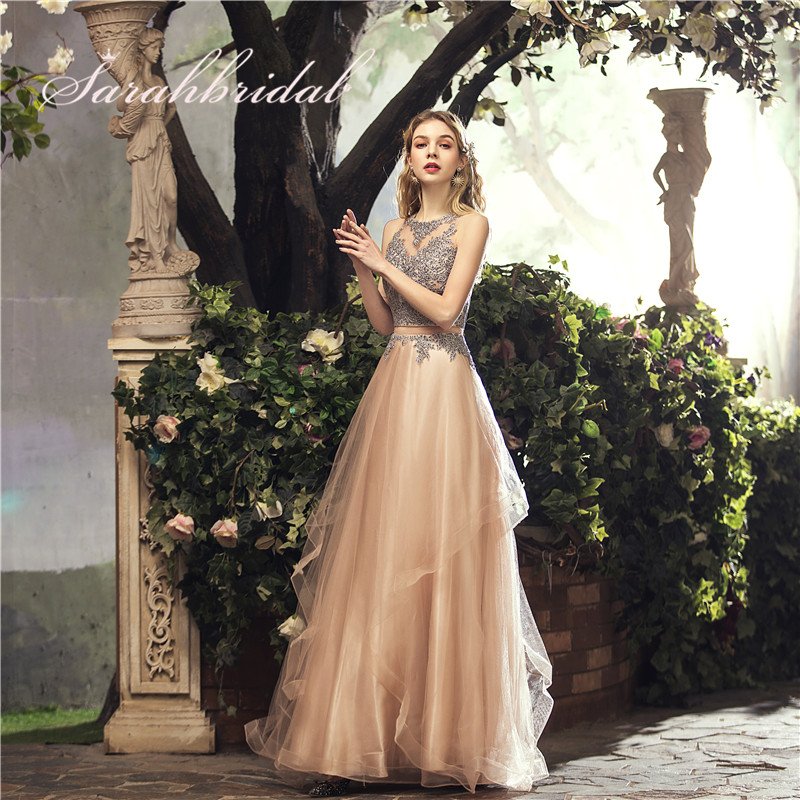 Elegant Long   Prom     Dresses   Tulle A-Line Floor Length Sleeveless Back Zip Appliques Evening Party Gowns Beads New In Stock CC490
